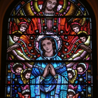 BVM with Jesus and angels stained glass200